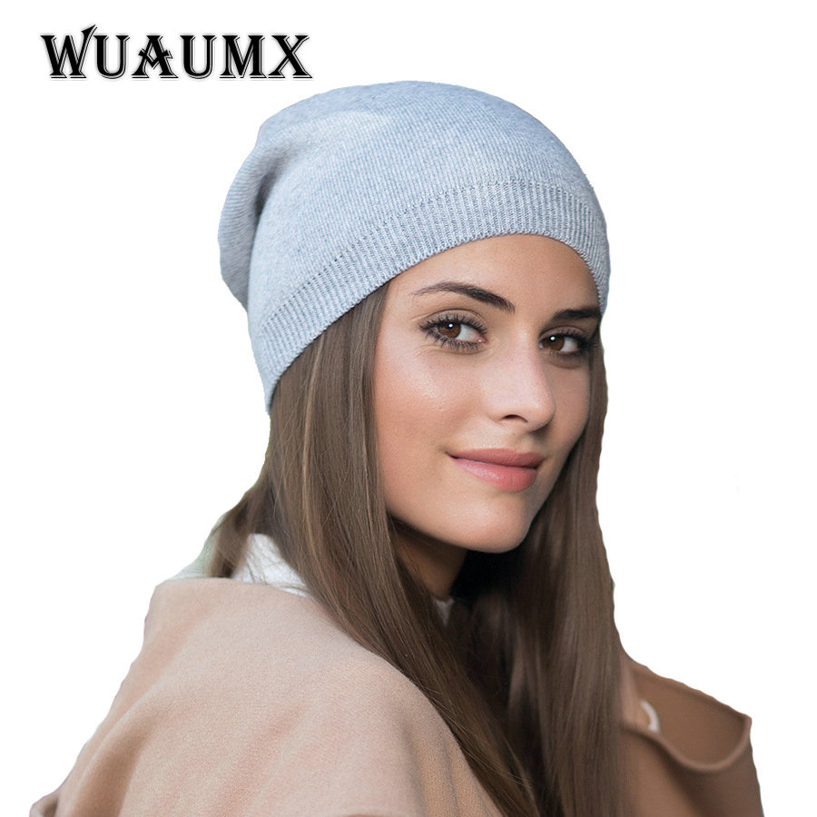 WUAUMX Brand Fashion Autumn Winter Hat For Women Beanies Hat Men Skullies Warm Wool Knitted Cap Outdoor Ski Caps Casual  Chapeau autumn and winter letter hat skullies beanies wool knitted hats for women ski cap men sport acrylic hat rx120