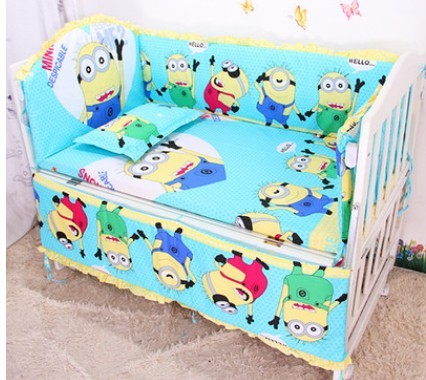 Promotion! 6pcs Baby bedding sets 100% cotton bedclothes Cartoon crib bedding set ,include (bumpers+sheet+pillow cover)