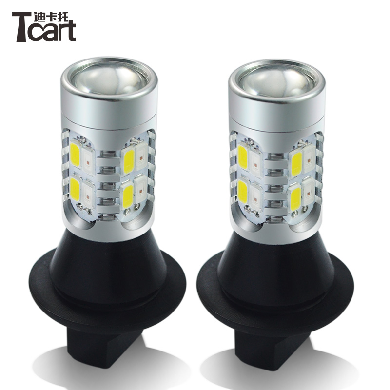Tcart 2x Auto Led Bulbs Daytime Running Lights Turn Signals For Toyota Prius Highlander For Prado Camry Corolla T20 WY21W 7440