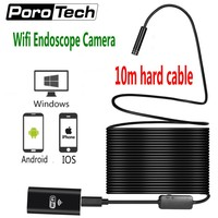 10m Hard Soft Cable Wifi Android IOS Endoscope Camera 8mm Lens 8 LED Wireless Waterproof Pipe
