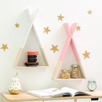 Nordic Style Wooden Triangle Shelf Lovely Colors Shelf Wall Hanging Trigon Storage Book Shelf Home Kids Baby Home Room DIY Decor