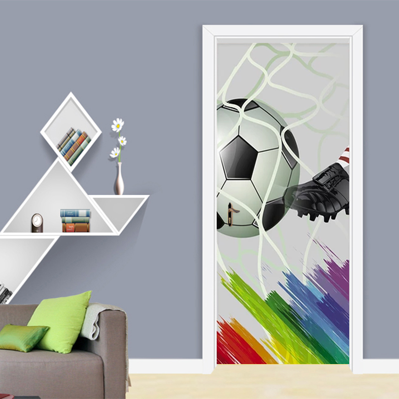 Canvas Print Picture Football Door Decor Stickers Self Adhesive Living Room Bedroom Waterproof 3D Mural Renovation Funny Decal