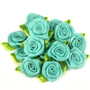 Image 2 - 50 teile/los 2CM Künstliche Seide Mini Rose Blume Köpfe Machen Satin Band Handmade DIY Handwerk Scrapbooking Für Hochzeit Dekoration