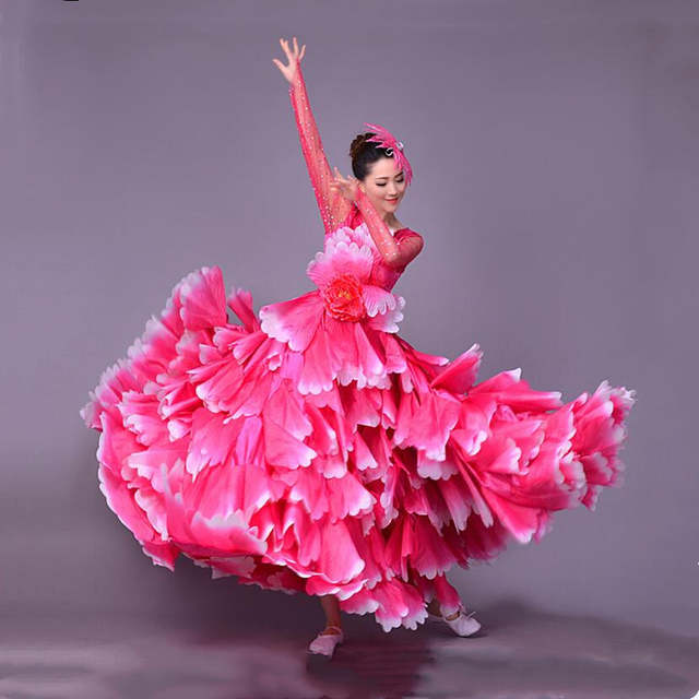 a61d1b1deba308 360 degrés espagnol corrida ventre danse robe jupe longue robe Flamenco  fille jupes rouge Flamenco robes pour femmes filles L189
