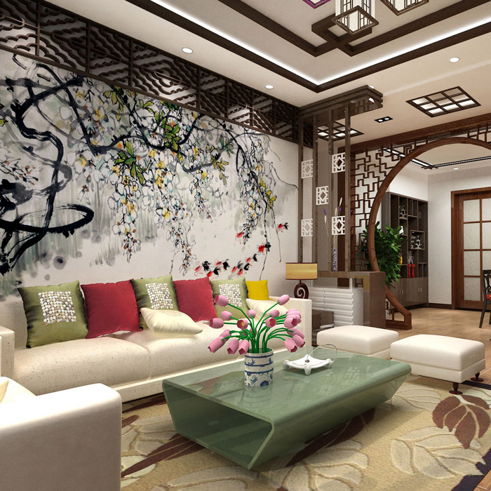 Free Shipping 3D Chinese style hand-painted tree wallpaper mural living room study TV background wallpaper  free shipping chinese ink classical retro wallpaper mural living room tv room wallpaper