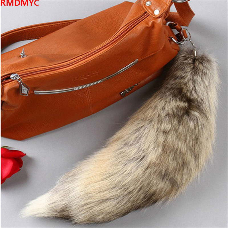 RMDMYC winter real Fox Fur tail stuffed & plush animals big size kawaii 40cm plush Pendant toys For women bags christmas gifts