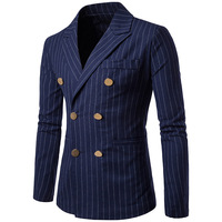 2018 Brand Men Blazers New Arrival Smart Casual Suit Double Breasted With Striped Pattern Black Navy