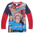 2017 New Spring Children Boys T Shirt Cotton Long Sleeve Kids Boy Firemen Cartoon Tee SZ 10