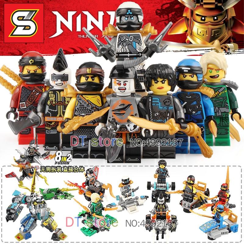80 PCS/LOT 8 en 2 Ninja Kai Jay Cole Zane Lloyd figurines ensemble modèles blocs de construction briques jouets pour enfants cadeau SY1101