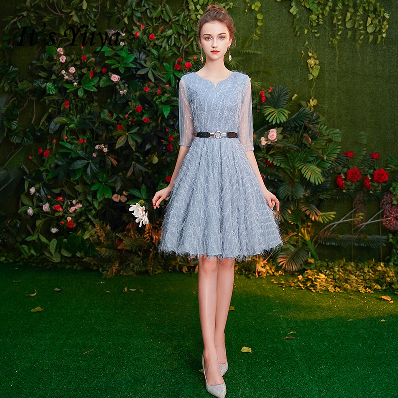 It's YiiYa Cocktail Dresses V-neck Tassel Half-sleeves Party Gowns Royal Crystal Knee-length Lace Up Illusion Formal Dress E413