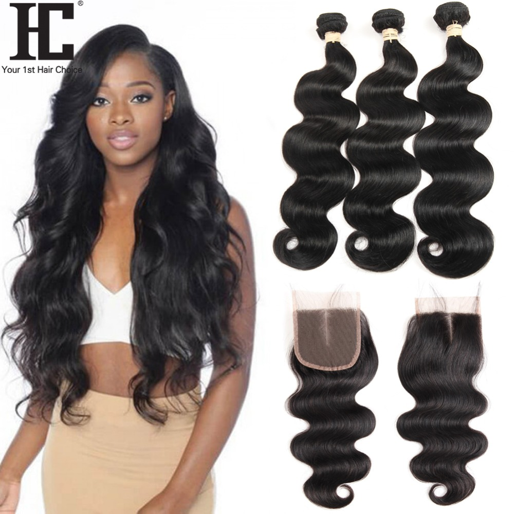 HC Brazilian Body Wave Bundles With 4*4 Lace Closure 3 Bundles Human Hair Weave Bundles With Closure 4 Pcs/Lot Hair Extensions