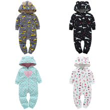 цена на Baby Coveralls Long Sleeve Fleece Ear Hooded Bebe Girl Clothes Baby Rompers Coat Girls Boy Fall Winter Christmas Costume
