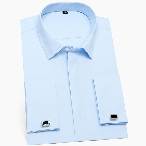 Men's Classic French Cuffs Solid Dress Shirt Covered Placket Formal Business Standard-fit Long Sleeve Shirts (Cufflink Included) 7