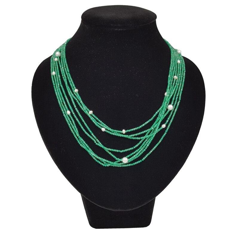 LiiJi уникальный натуральный зеленый оникс пресноводный жемчуг 8 рядов 925 пробы серебро застежка блестящие крошечные бусины цепочки и ожерел