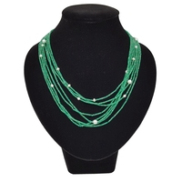 LiiJi Unique Natural Green Onyx Freshwater Pearl 8 Rows 925 Sterling Silver Clasp Shining Tiny Beads Necklace For Women Jewelry