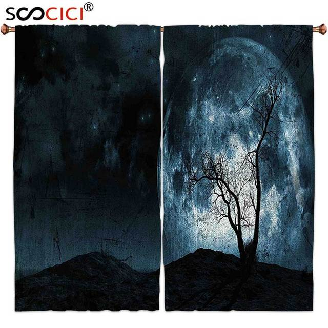 Window Curtains Treatments 2 PanelsFantasy Night Moon Sky With Tree Silhouette Gothic Halloween Colors