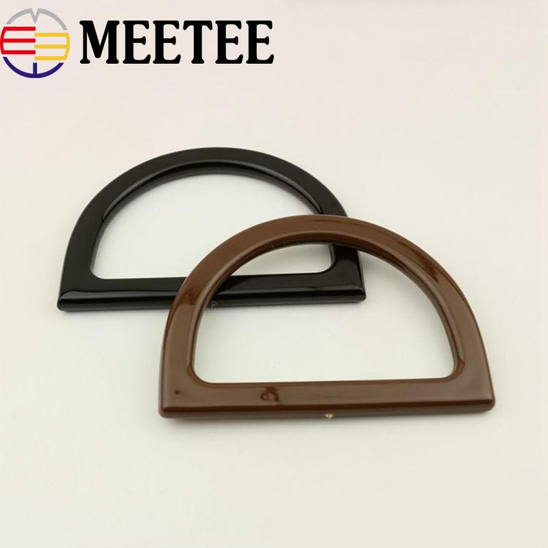 2pcs D Ring Bag Handles For Crochet Obag Resin Buckles For Handbag Wallet Purse Frame Clasp Diy Bag Hanger Accessories Ky959 Refreshment Apparel Sewing & Fabric