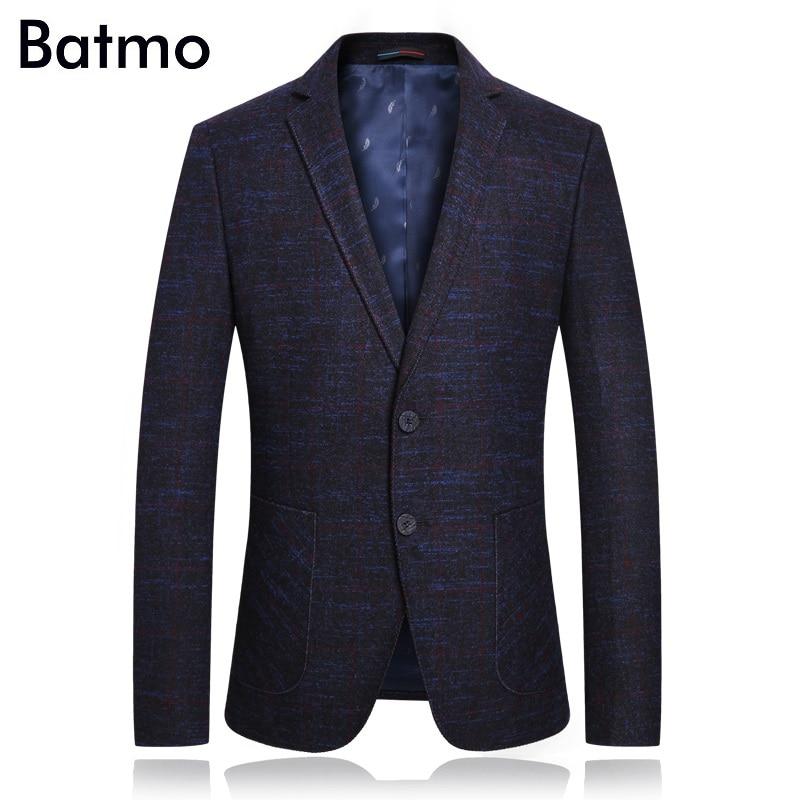 Batmo 2018 new arrival high quality plaid casual blue blazer men men s casual jackets men
