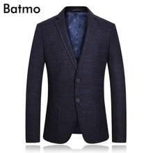 Batmo 2018 new arrival high quality plaid casual blue blazer men,men's casual jackets ,men's suits plus-size 1831