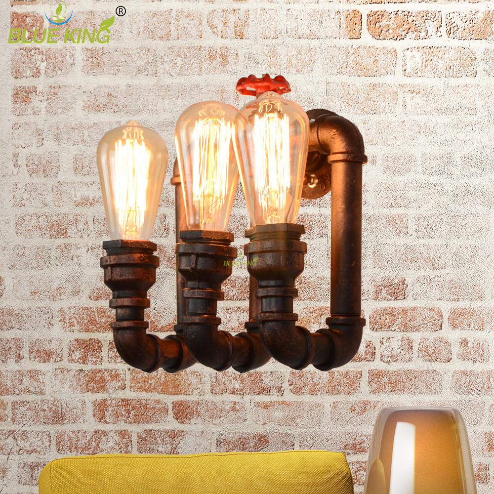 2017 new Retro Loft Waterpipe Wall Lamp Rust Color Iron 3 Heads Water Pipes Wall Lights Vintage E27 Indoor Lighting AC90V-260V