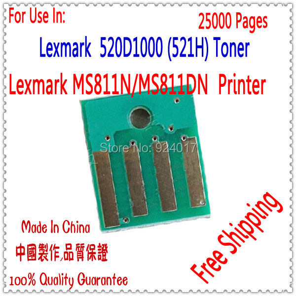 Compatible Lexmark MS811 Toner Chip,For Lexmark MS811N MS 811Reset Toner Chip,For Lexmark MS811DTN 52D1000 (521H) Toner Chip,25k