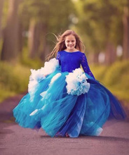 Ball Gown Long Sleeves Girls Pageant Dresses Puffy Flower Girl Dresses Kids Gown недорого
