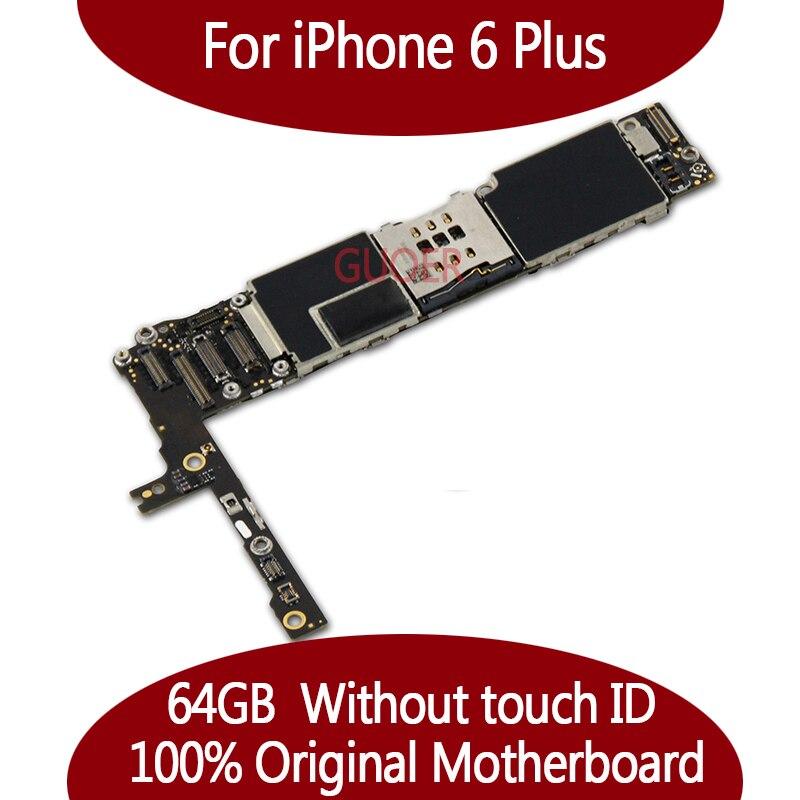 64 ГБ для iphone 6 Plus платы 100% Оригинал разблокирован для iphone 6 Plus материнская плата без Touch ID Функция хорошее качество