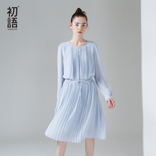 Toyouth 2017 Spring New Arrival Women Cute A-Line Solid Full Sleeve Draped Knee Length O-Neck Collar Dresses