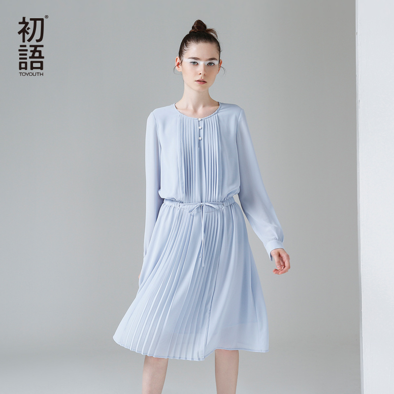 product Toyouth 2017 Spring New Arrival Women Cute A-Line Solid Full Sleeve Draped Knee Length O-Neck Collar Dresses