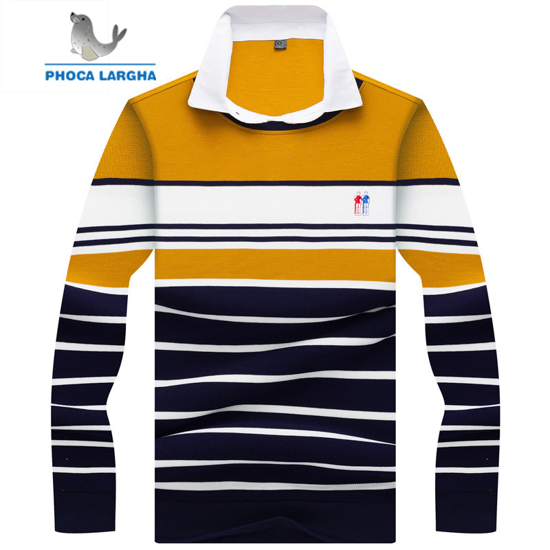 2018 Men's Casual   Polo   Shirts 100% Cotton Striped Embroidery Long sleeve Shirt Mens solid Slim Fit Business   polo   Shirt Male