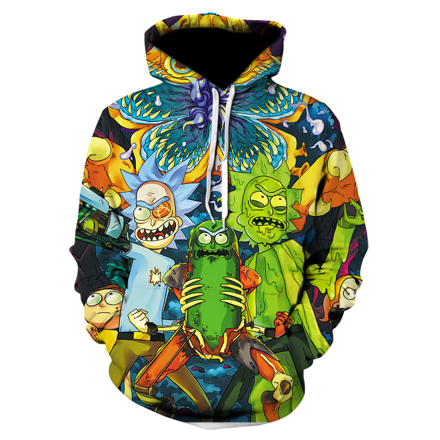 2018 Fashion Brand 3d hoodies cartoon rick and morty print Women/Men Hoody Streetwear casual hooded sweatshirts