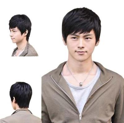 Men Fashion Short Black Straight Hair Full Wig Cosplay free shipping