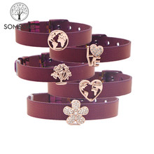 US $2.7 20% OFF|Somsoar Jewelry Purple Stainless Steel Mesh Bracelet Bangles with Slide Charms DIY Jewelry as special Gift-in Wrap Bracelets from Jewelry & Accessories on Aliexpress.com | Alibaba Group