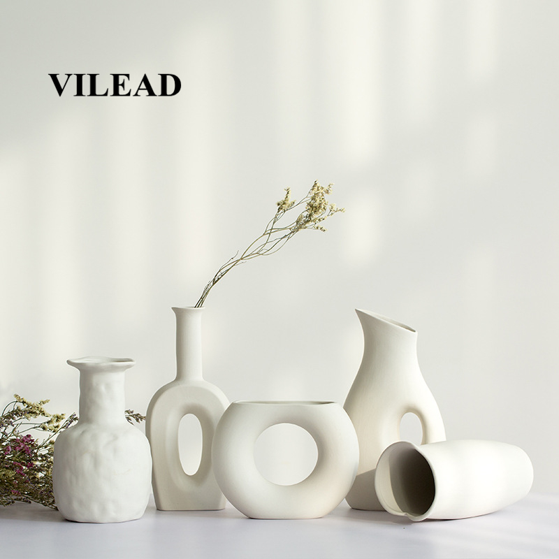 VILEAD 9 Style Ceramic White Vase Decorative Bottle Dried Flowers Creative Flower Vase Ornaments For Home Decoracion Accessories