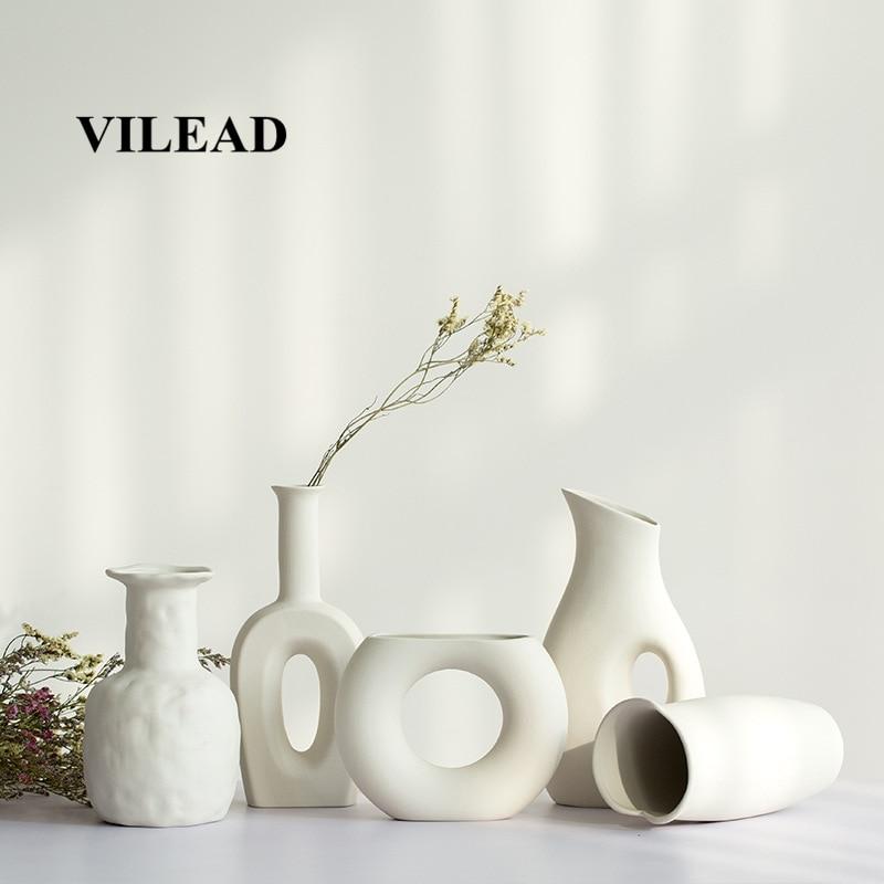 VILEAD 9 Style Ceramic White Vase Figurines Dried Flowers Gypsophila Creative Flower Vase Ornaments For Home Decoracion Hogar