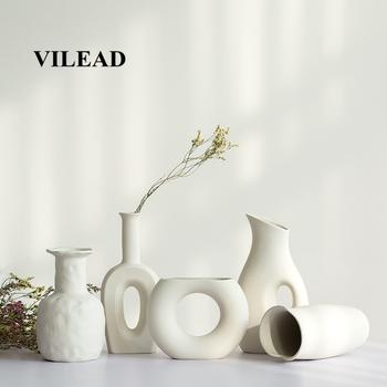 VILEAD 9 Style ceramiczna biel wazon dekoracyjny butelka suszone kwiaty kreatywny wazon na kwiaty ozdoby do dekoracji wnętrz akcesoria tanie i dobre opinie Flower Simple Europa Ceramiczne i emaliowane As Picture White