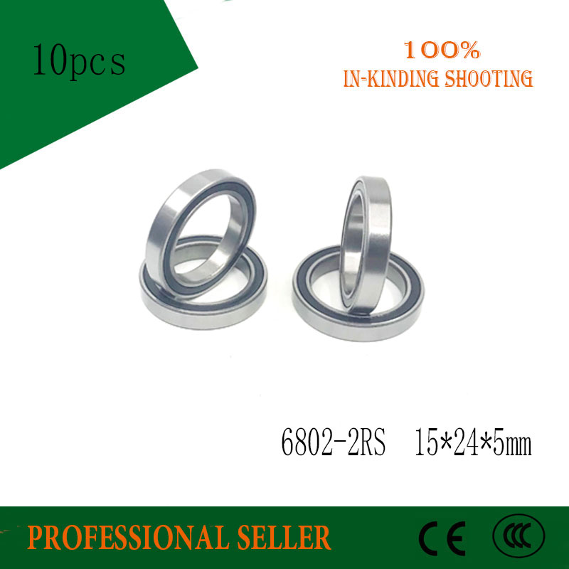 10pcs 6802 2rs Ball Bearing 6802 ABEC-1 15x24x5 Mm Thin Section 6802RS Ball Bearings 6802-2RS  61802 RS