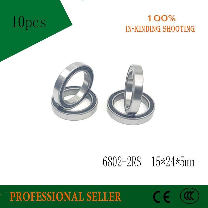 10pcs 6802 2rs ball Bearing 6802 ABEC-1 15x24x5 mm Thin Section 6802RS Ball Bearings 6802-2RS 61802 RS free shipping 6802 2rs bearing steel hybrid ceramic deep groove ball bearing 15x24x5mm 6802 2rs 6802rs