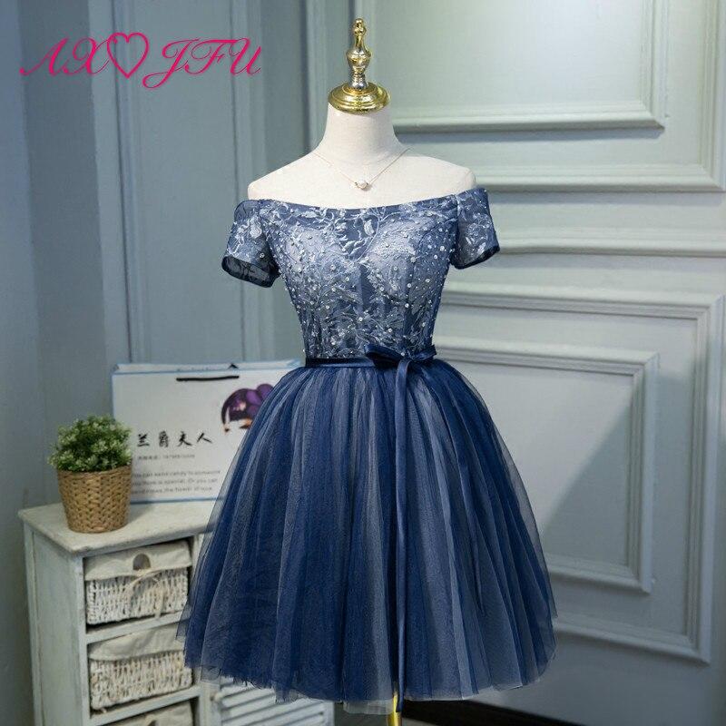 AXJFU bleu dentelle perles robe de soirée courte mode coréenne doux arc bleu robe de soirée tempérament, dames, demoiselles d'honneur