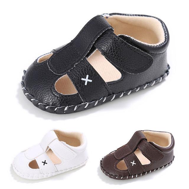 34925edd3dcd8 0-18M Infant Toddler Baby Boy Sandals Prewalker Open toe Soft Leather Solid  Casual Newborn