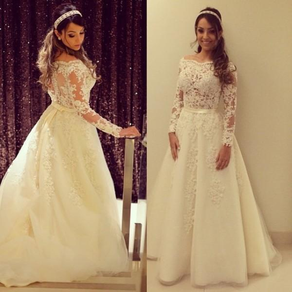 e36b694930 US $236.8 |Sexy Long Sleeves Wedding Dresses Arabic A Line Bateau Neck See  Through Top Lace Appliques Stunning Bridal Gowns Plus Size-in Wedding ...