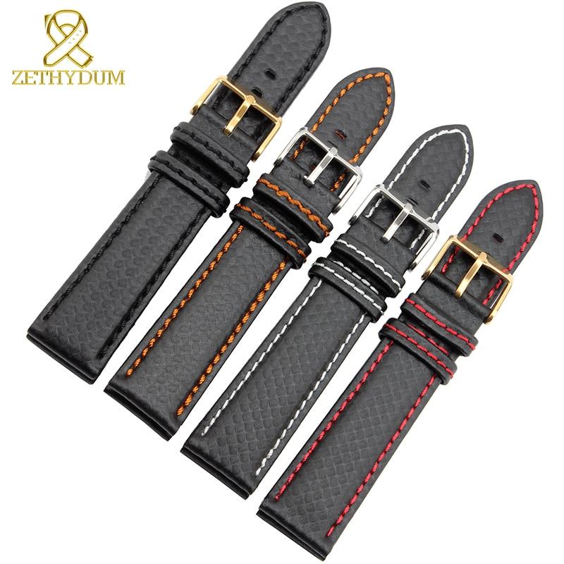 Genuine Leather Bracelet Carbon Fiber Grain Watchband 18mm 20mm Red Orange Stitching Watch Band 21mm 22mm 23mm 24mm Watch Strap