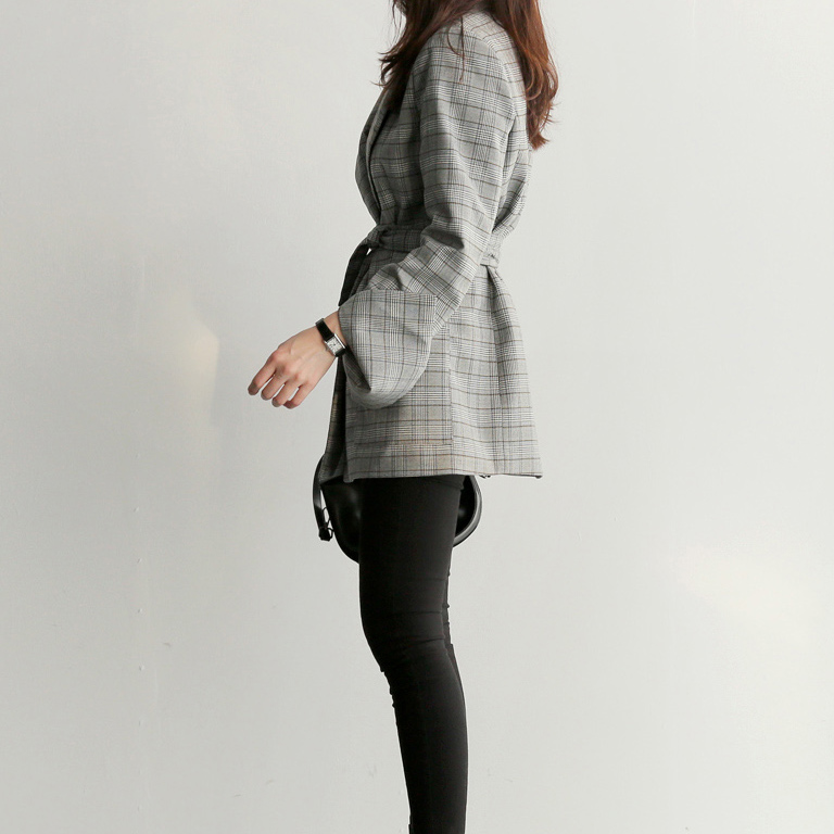 Spring Autumn Women Gray Plaid Office Lady Blazer Fashion Bow Sashes Split Sleeve Jackets Elegant Work Blazers Feminino 6
