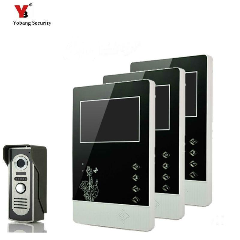 Permalink to Yobang Security 4.3 Inches HD Doorbell Camera Video Intercom Door Phone System Security Camera Intercom Door Bell With 3 Monitor
