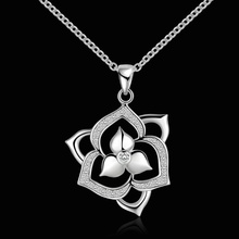 Silver plated gorgeous Fashion charms wedding lady popular exquisite flowers Zircon necklace noble luxury silver jewelry N502