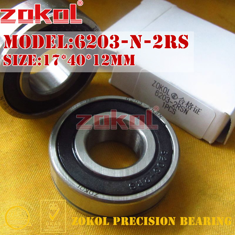 ZOKOL bearing 6203 N 2RS 6203-2RSN 50203 2RS Snap ring groove Deep Groove ball bearing 17*40*12mm