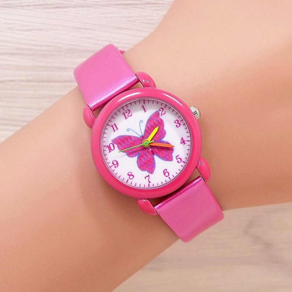 2018 מותג אופנה שעונים לילדים ילדים בנות קוורץ-פרפר צבעוני חמוד שעון סטודנט שעון קוורץ חיוג relojes mujer