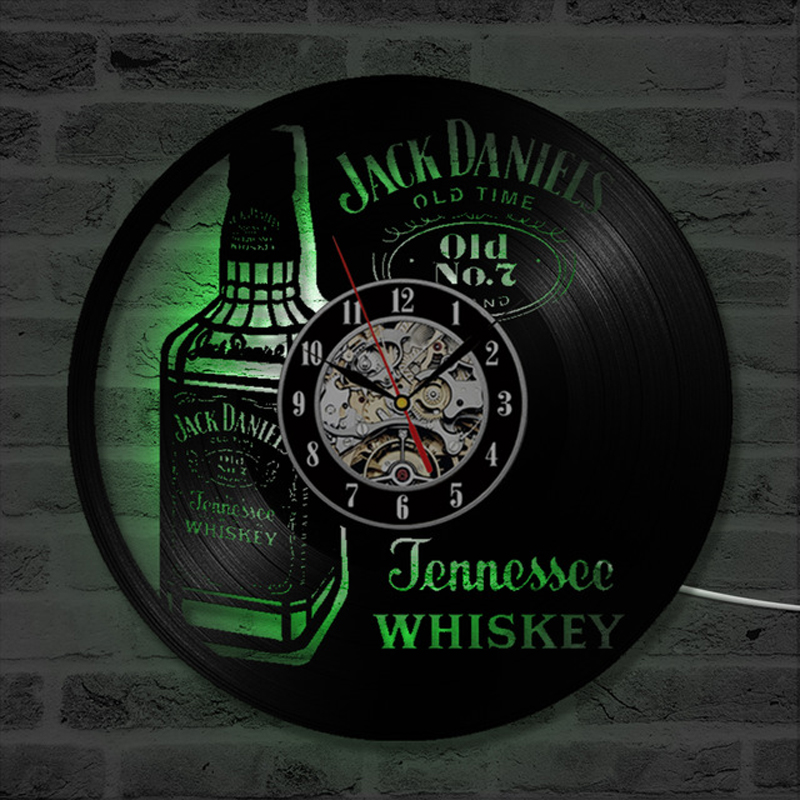 A Bottle Of Whiskey Beer Wall Clock Modern Design Vintage Vinyl Record Clocks LED Lighting Wall Watch Home Decor For Beer