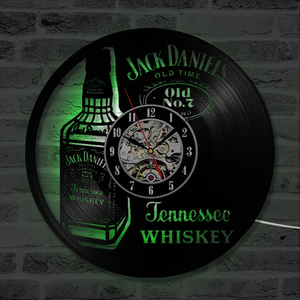 A Bottle of Whiskey Beer Wall Clock Modern Design Vintage Vinyl Record Clocks LED Lighting Wall Watch Home Decor for Beer|Wall Clocks| |  -