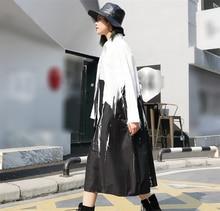 [EAM] 2018 new spring lapel long sleeve irregular Splash ink printed loose big size long shirt lady blouse fashion tide JE41401